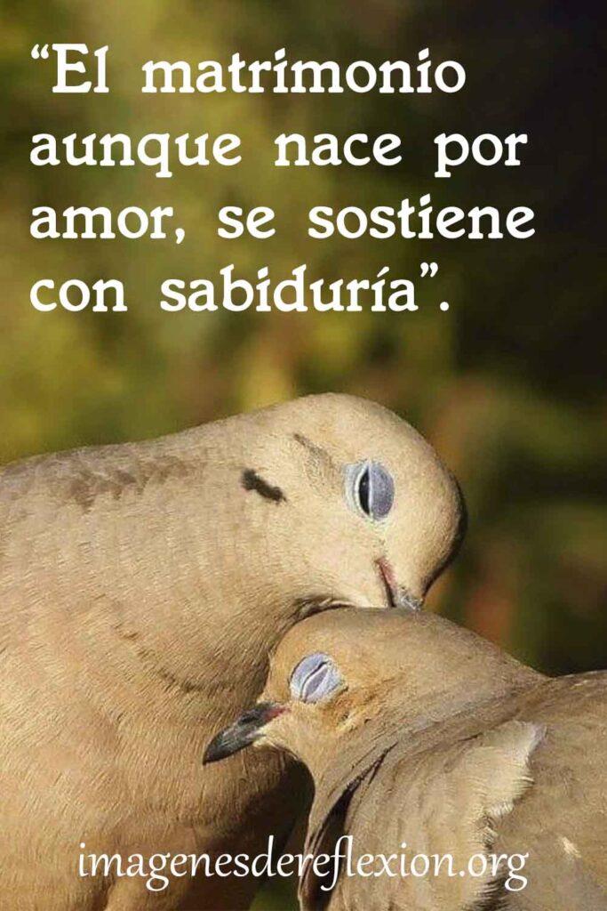 El matrimonio aunque nace por amor, se sostiene con sabiduría.